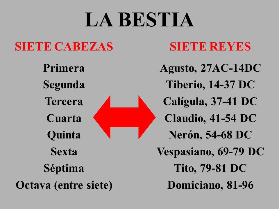 LA BESTIA SIETE CABEZAS Primera Segunda Tercera Cuarta Quinta Sexta Séptima Octava (entre siete) SIETE REYES Agusto, 27AC-14DC Tiberio, 14-37 DC Calíg