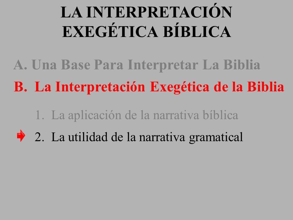 LA INTERPRETACIÓN EXEGÉTICA BÍBLICA A. Una Base Para Interpretar La Biblia B. La Interpretación Exegética de la Biblia 1. La aplicación de la narrativ