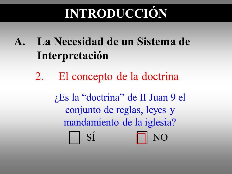 A.La Necesidad de un Sistema de Interpretación 2.El concepto de la doctrina INTRODUCCIÓN SÍNO ¿Es la doctrina de II Juan 9 el conjunto de reglas, leye