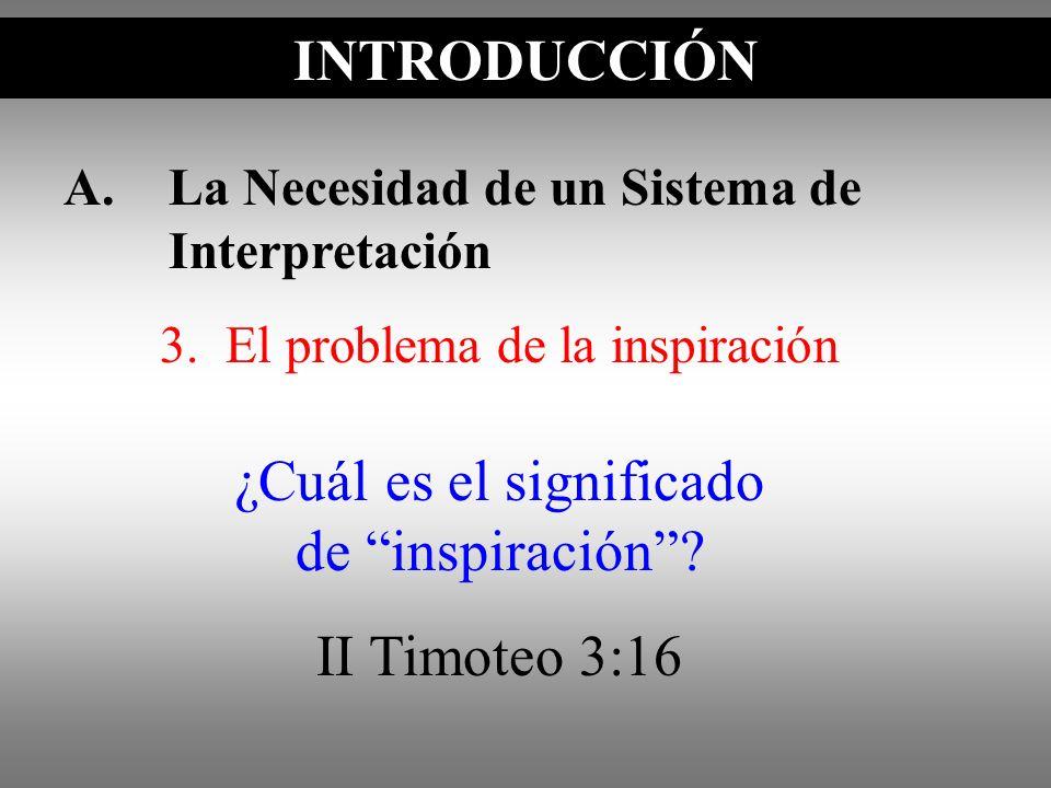 A.La Necesidad de un Sistema de Interpretación INTRODUCCIÓN ¿Cuál es el significado de inspiración? II Timoteo 3:16 3. El problema de la inspiración