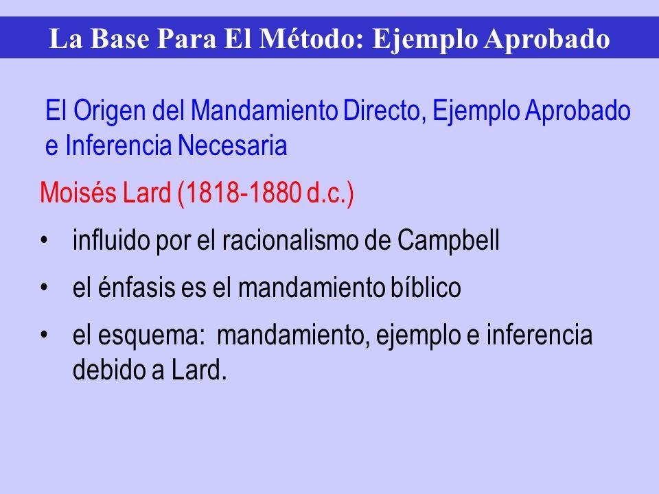 Moisés Lard (1818-1880 d.c.) influido por el racionalismo de Campbell el énfasis es el mandamiento bíblico el esquema: mandamiento, ejemplo e inferenc