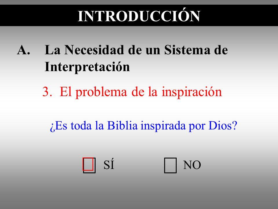 A.La Necesidad de un Sistema de Interpretación 3. El problema de la inspiración INTRODUCCIÓN SÍNO ¿Es toda la Biblia inspirada por Dios?