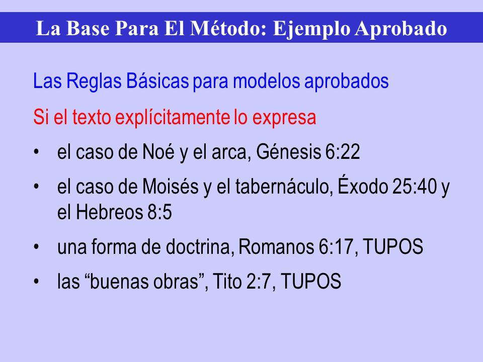Si el texto explícitamente lo expresa el caso de Noé y el arca, Génesis 6:22 el caso de Moisés y el tabernáculo, Éxodo 25:40 y el Hebreos 8:5 una form