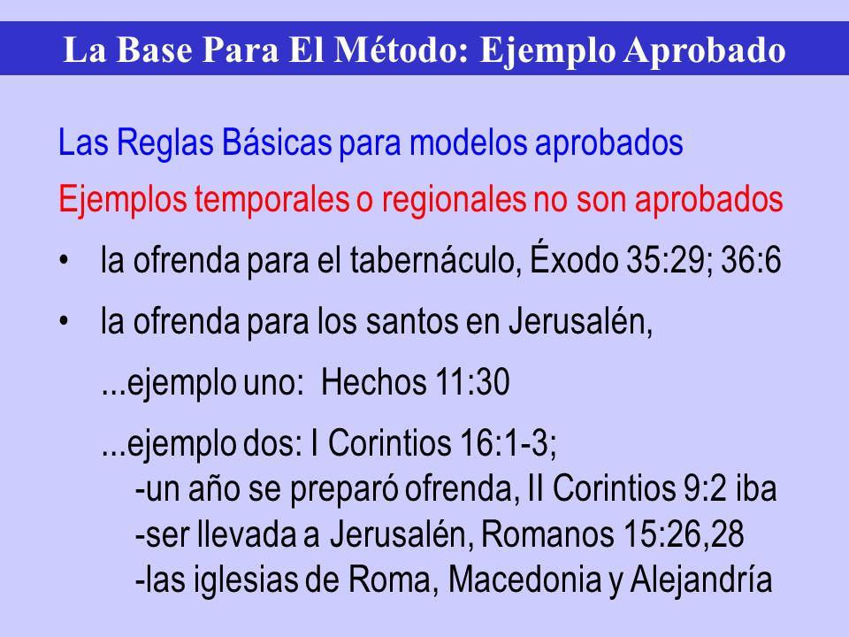 Ejemplos temporales o regionales no son aprobados la ofrenda para el tabernáculo, Éxodo 35:29; 36:6 la ofrenda para los santos en Jerusalén,...ejemplo