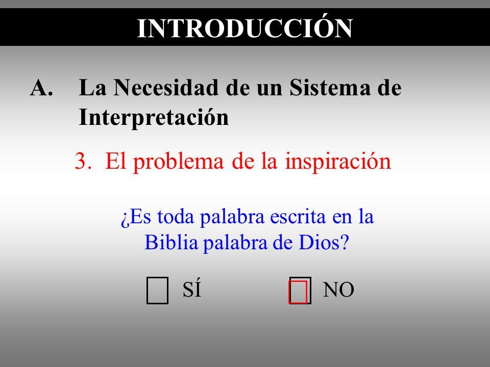 A.La Necesidad de un Sistema de Interpretación 3. El problema de la inspiración INTRODUCCIÓN SÍNO ¿Es toda palabra escrita en la Biblia palabra de Dio