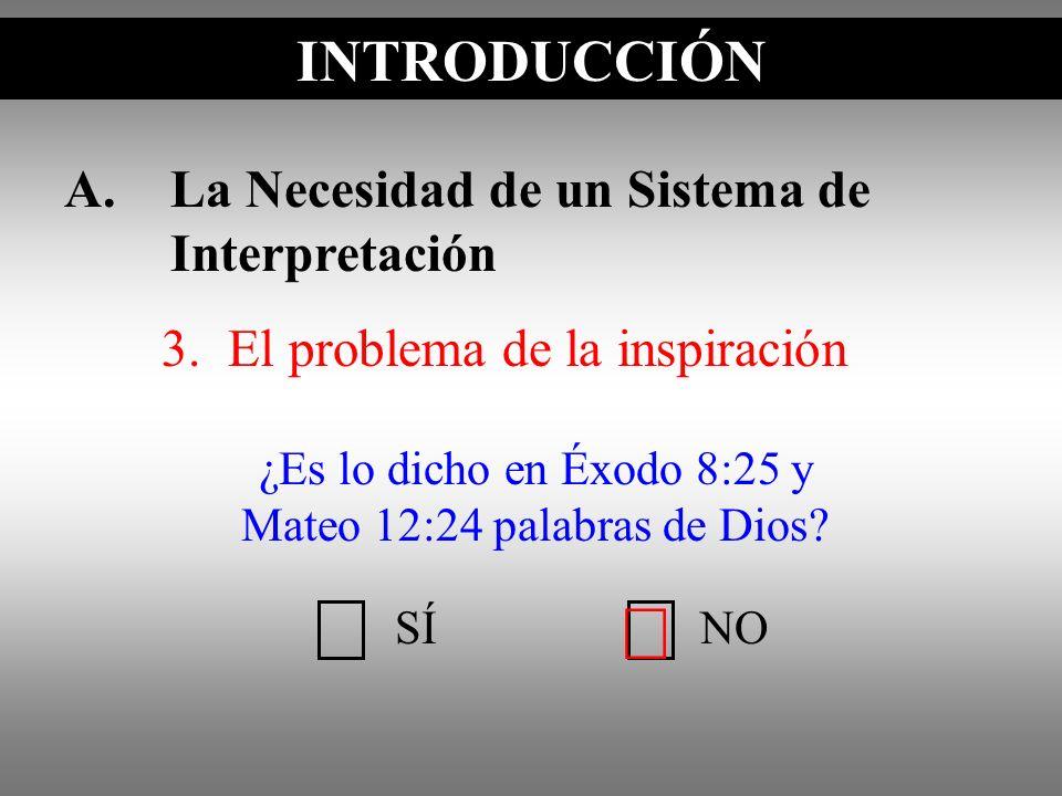 A.La Necesidad de un Sistema de Interpretación 3. El problema de la inspiración INTRODUCCIÓN SÍNO ¿Es lo dicho en Éxodo 8:25 y Mateo 12:24 palabras de