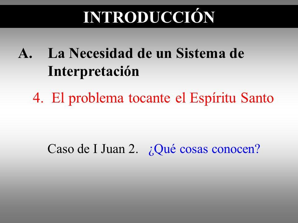 A.La Necesidad de un Sistema de Interpretación INTRODUCCIÓN Caso de I Juan 2. ¿Qué cosas conocen? INTRODUCCIÓN 4. El problema tocante el Espíritu Sant