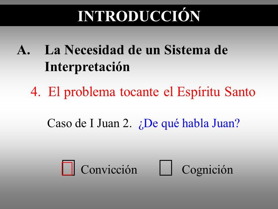 A.La Necesidad de un Sistema de Interpretación INTRODUCCIÓN Caso de I Juan 2. ¿De qué habla Juan? INTRODUCCIÓN ConvicciónCognición 4. El problema toca