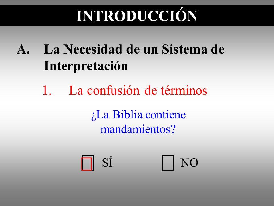 A.La Necesidad de un Sistema de Interpretación 1.La confusión de términos ¿La Biblia contiene mandamientos? INTRODUCCIÓN SÍNO