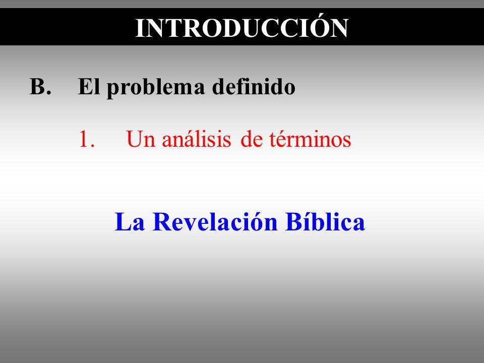B.El problema definido INTRODUCCIÓN La Revelación Bíblica 1.Un análisis de términos