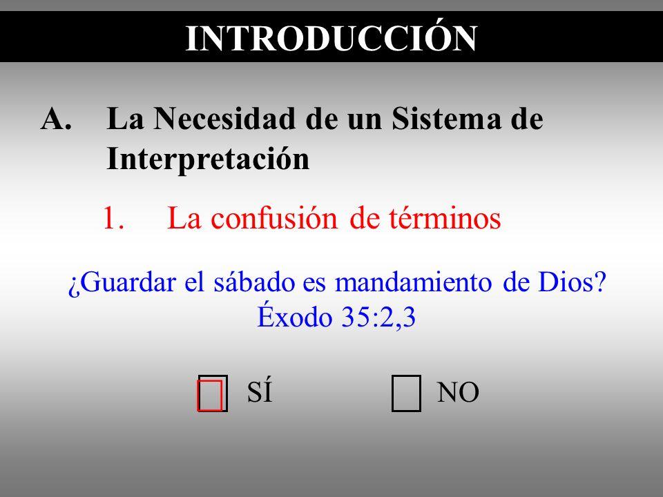 A.La Necesidad de un Sistema de Interpretación 1.La confusión de términos ¿Guardar el sábado es mandamiento de Dios? Éxodo 35:2,3 INTRODUCCIÓN SÍNO