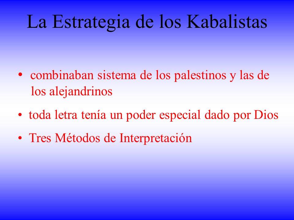 La Estrategia de los Kabalistas combinaban sistema de los palestinos y las de los alejandrinos toda letra tenía un poder especial dado por Dios Tres M