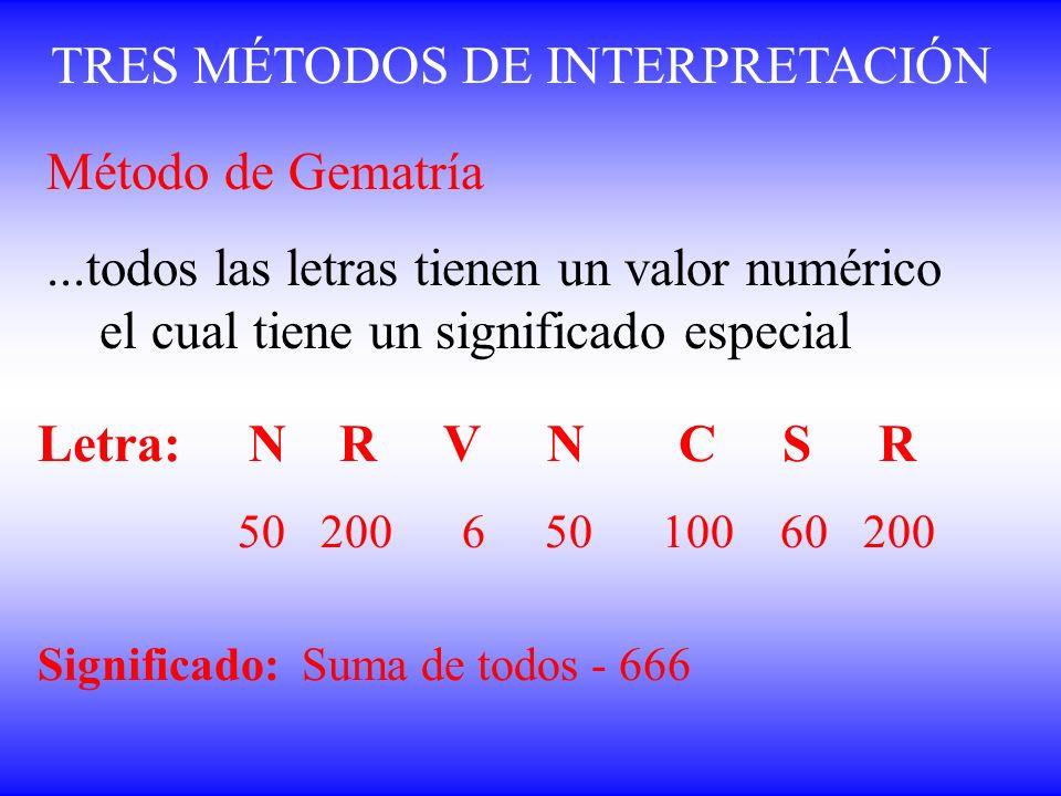 TRES MÉTODOS DE INTERPRETACIÓN Método de Gematría...todos las letras tienen un valor numérico el cual tiene un significado especial Letra: N R V N C S