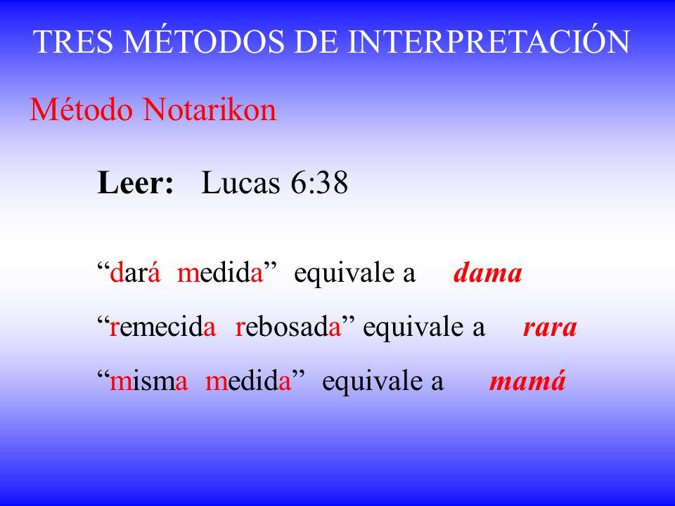 TRES MÉTODOS DE INTERPRETACIÓN Método Notarikon Leer: Lucas 6:38 dará medida equivale a dama remecida rebosada equivale a rara misma medida equivale a