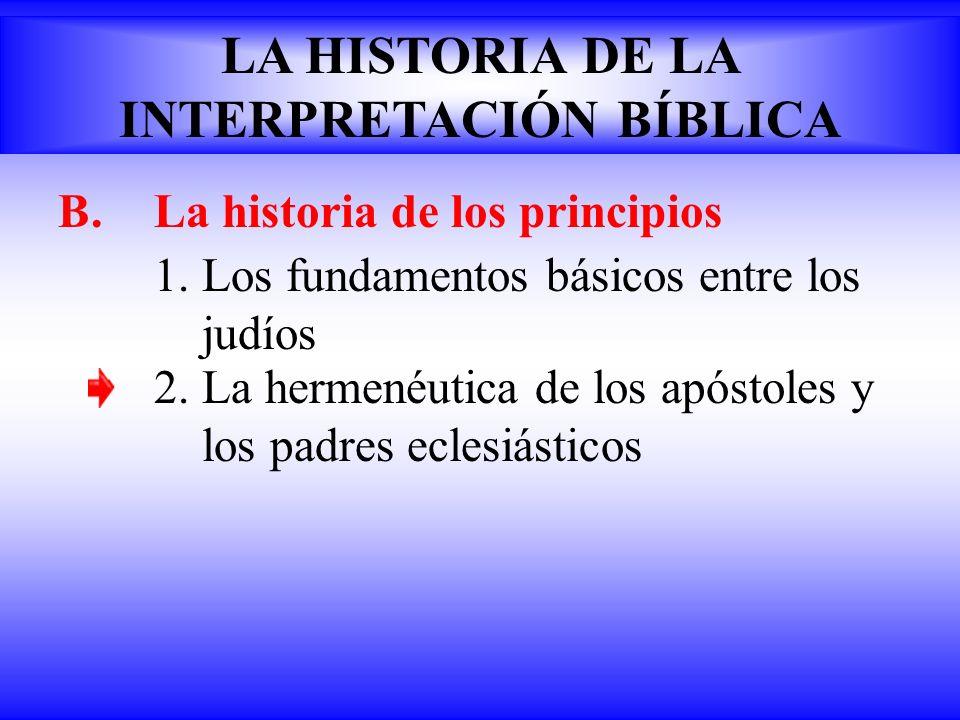 B.La historia de los principios 1.Los fundamentos básicos entre los judíos LA HISTORIA DE LA INTERPRETACIÓN BÍBLICA 2. La hermenéutica de los apóstole