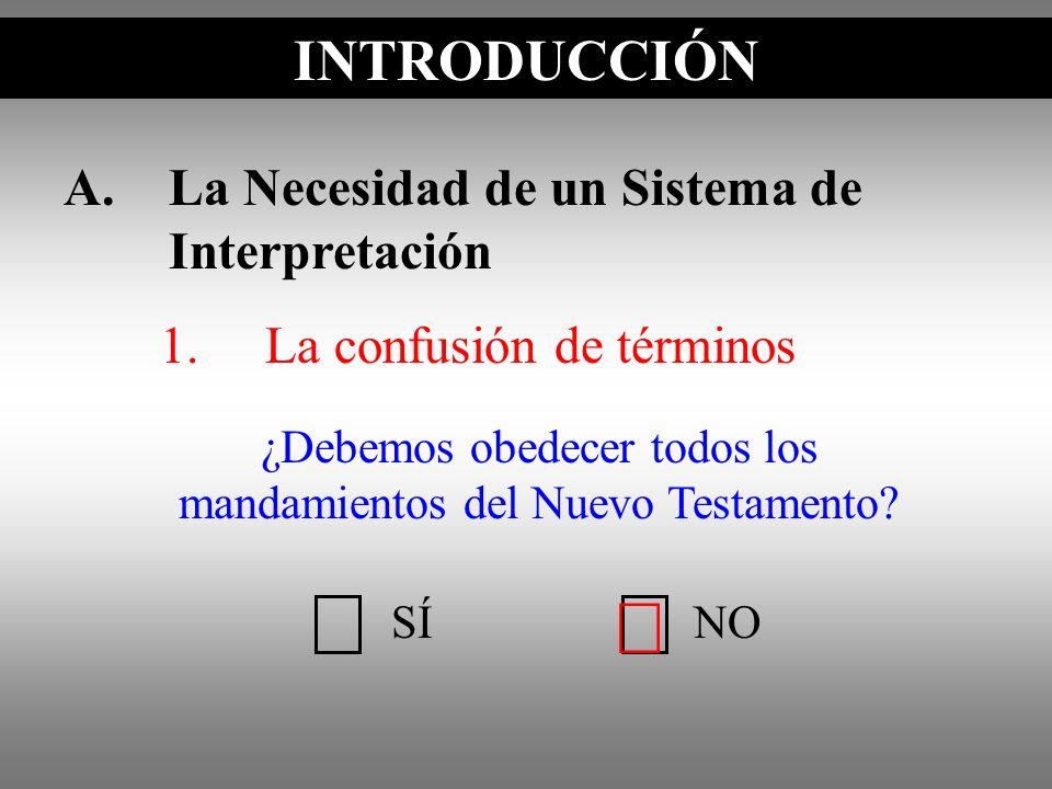 A.La Necesidad de un Sistema de Interpretación 1.La confusión de términos INTRODUCCIÓN SÍNO ¿Debemos obedecer todos los mandamientos del Nuevo Testame