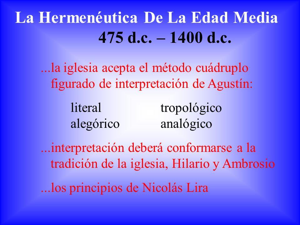 La Hermenéutica De La Edad Media 475 d.c. – 1400 d.c....la iglesia acepta el método cuádruplo figurado de interpretación de Agustín: literaltropológic