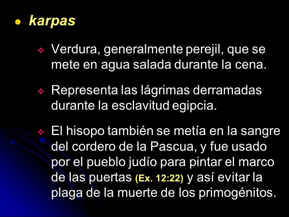 karpas Verdura, generalmente perejil, que se mete en agua salada durante la cena. Representa las lágrimas derramadas durante la esclavitud egipcia. El