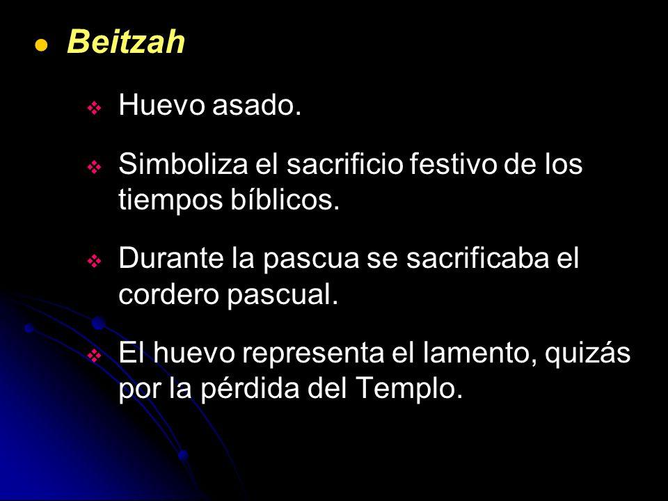 Beitzah Huevo asado. Simboliza el sacrificio festivo de los tiempos bíblicos. Durante la pascua se sacrificaba el cordero pascual. El huevo representa