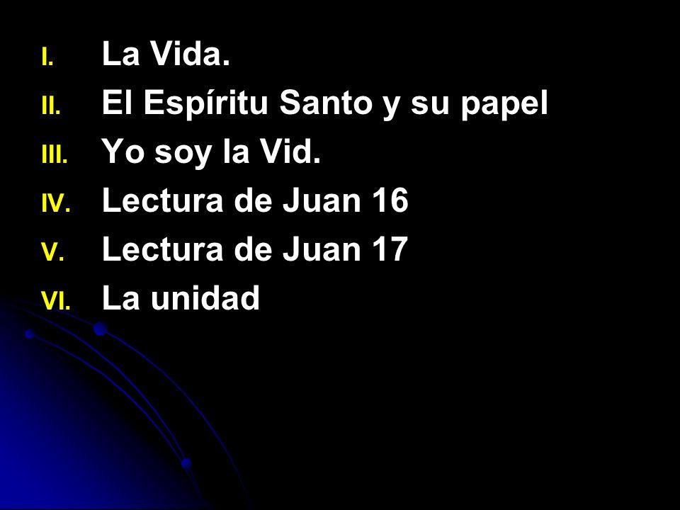 I. I. La Vida. II. II. El Espíritu Santo y su papel III. III. Yo soy la Vid. IV. IV. Lectura de Juan 16 V. V. Lectura de Juan 17 VI. VI. La unidad