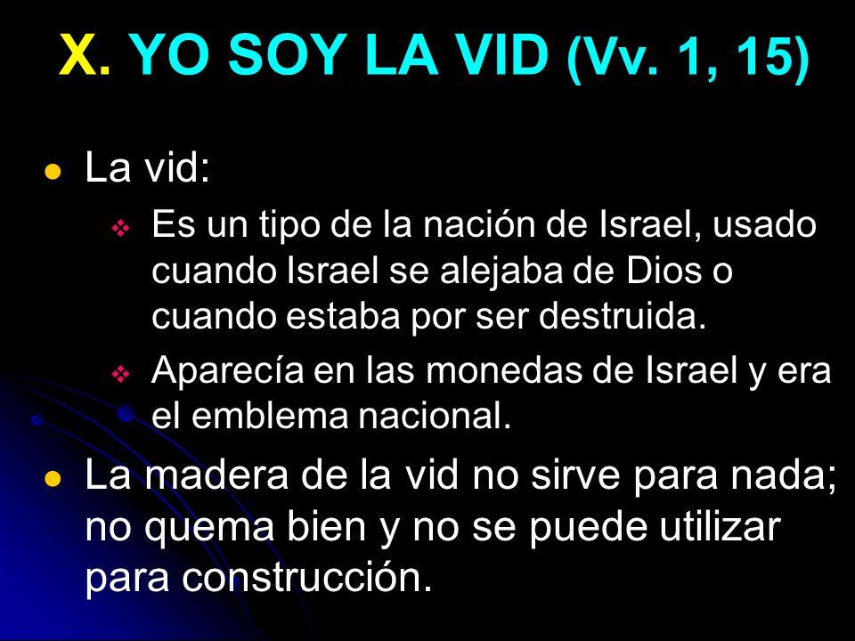 X. YO SOY LA VID (Vv. 1, 15) La vid: Es un tipo de la nación de Israel, usado cuando Israel se alejaba de Dios o cuando estaba por ser destruida. Apar