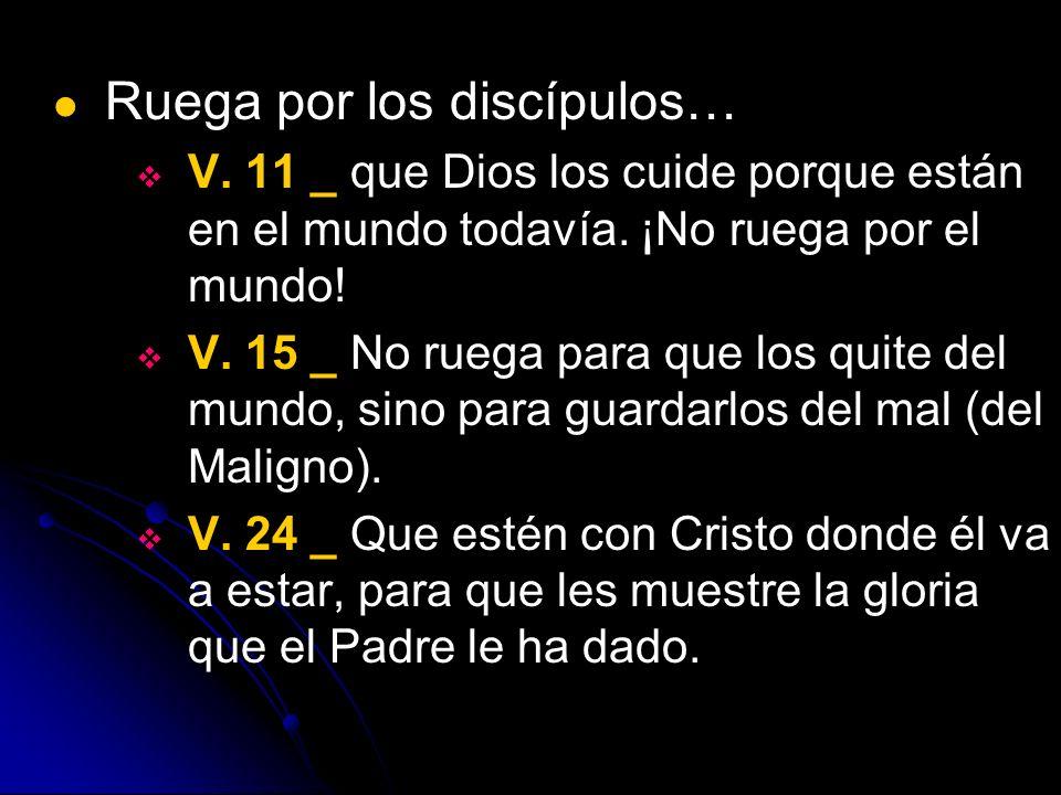 Ruega por los discípulos… V. 11 _ que Dios los cuide porque están en el mundo todavía. ¡No ruega por el mundo! V. 15 _ No ruega para que los quite del