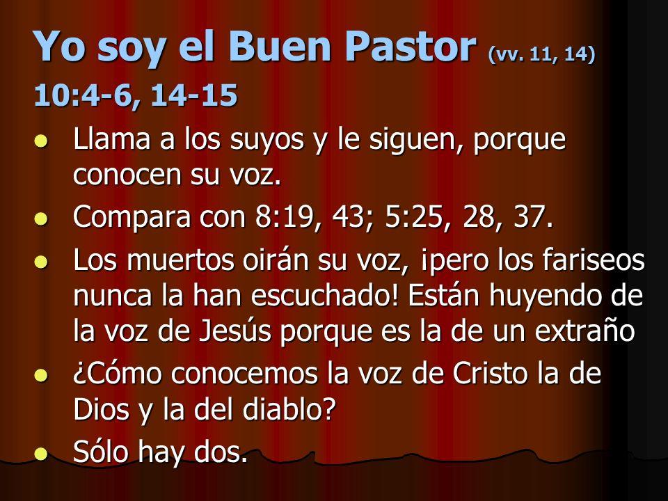 Yo soy el Buen Pastor (vv. 11, 14) 10:4-6, 14-15 Llama a los suyos y le siguen, porque conocen su voz. Llama a los suyos y le siguen, porque conocen s