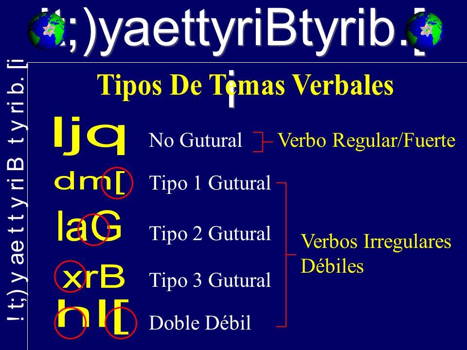 No Gutural Tipo 2 Gutural Tipo 1 Gutural Tipo 3 Gutural Doble Débil Verbo Regular/Fuerte Verbos Irregulares Débiles