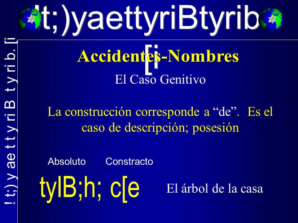 !t;)yaettyriBtyrib. [i El Caso Genitivo La construcción corresponde a de. Es el caso de descripción; posesión El árbol de la casa Absoluto Constracto