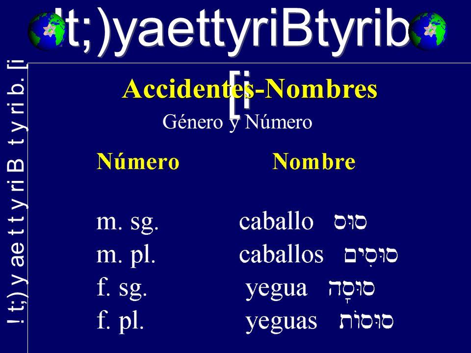 !t;)yaettyriBtyrib. [i Género y Número
