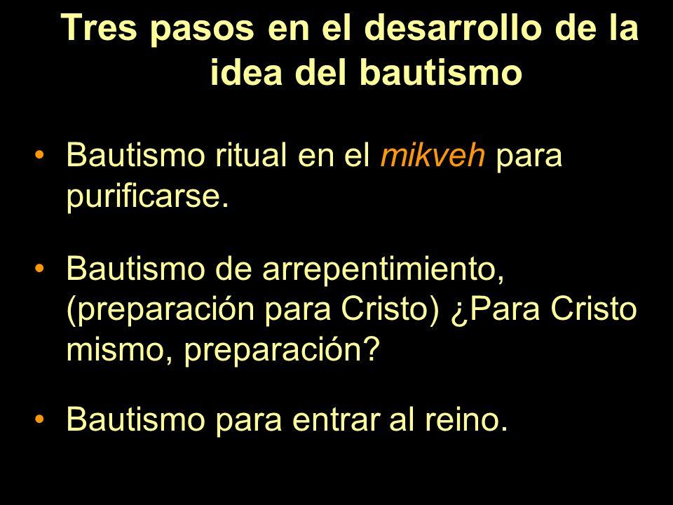 Tres pasos en el desarrollo de la idea del bautismo Bautismo ritual en el mikveh para purificarse. Bautismo de arrepentimiento, (preparación para Cris