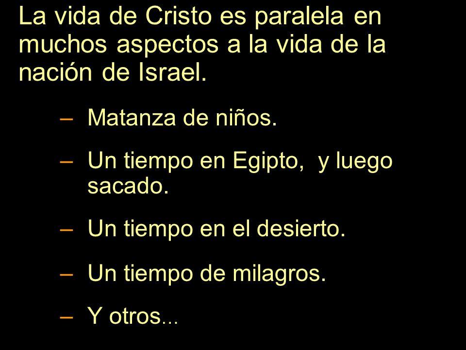 La vida de Cristo es paralela en muchos aspectos a la vida de la nación de Israel. –Matanza de niños. –Un tiempo en Egipto, y luego sacado. –Un tiempo