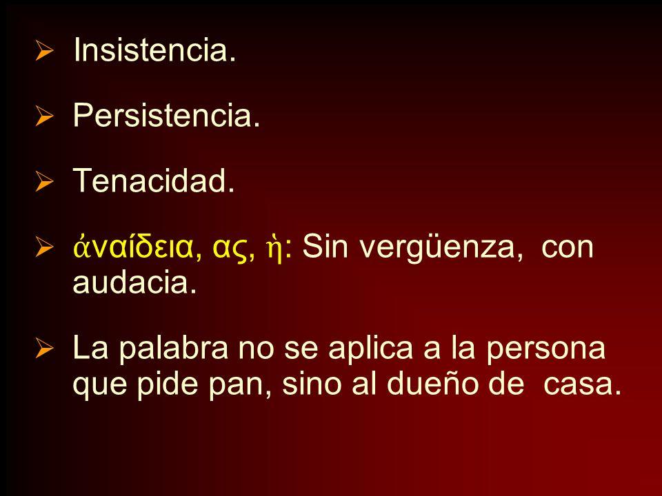 Insistencia. Persistencia. Tenacidad. ναίδεια, ας, : Sin vergüenza, con audacia. La palabra no se aplica a la persona que pide pan, sino al dueño de c