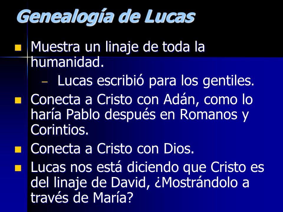 Genealogía de Lucas Muestra un linaje de toda la humanidad. Muestra un linaje de toda la humanidad. – Lucas escribió para los gentiles. Conecta a Cris