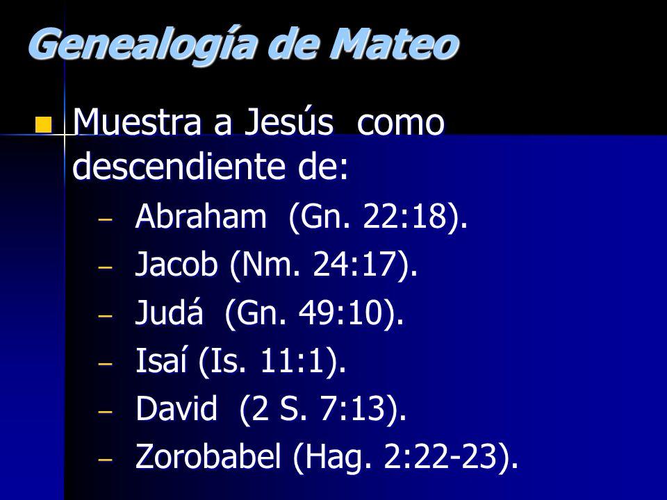 Genealogía de Mateo Muestra a Jesús como descendiente de: Muestra a Jesús como descendiente de: – Abraham (Gn. 22:18). – Jacob (Nm. 24:17). – Judá (Gn