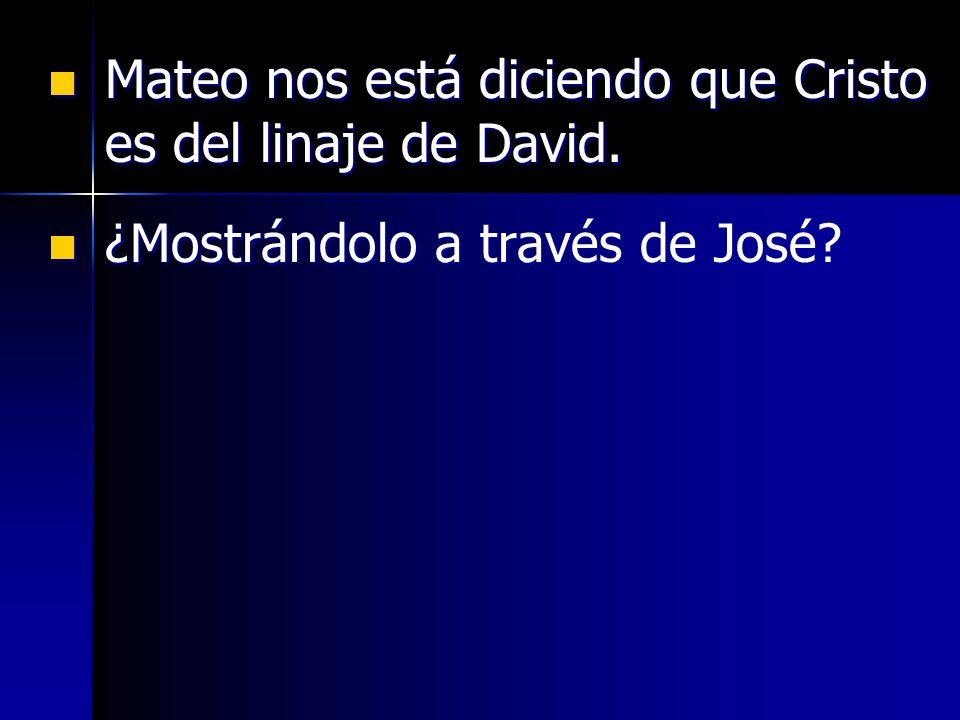 Mateo nos está diciendo que Cristo es del linaje de David. Mateo nos está diciendo que Cristo es del linaje de David. ¿Mostrándolo a través de José? ¿