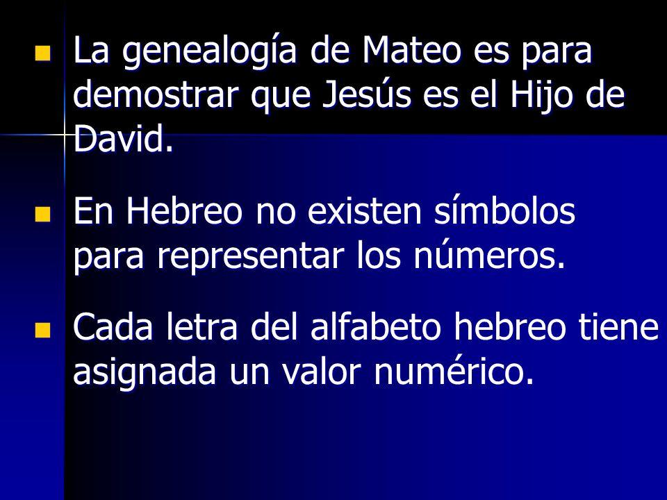 La genealogía de Mateo es para demostrar que Jesús es el Hijo de David. La genealogía de Mateo es para demostrar que Jesús es el Hijo de David. En Heb