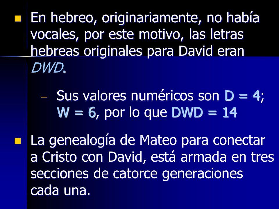 En hebreo, originariamente, no había vocales, por este motivo, las letras hebreas originales para David eran. En hebreo, originariamente, no había voc