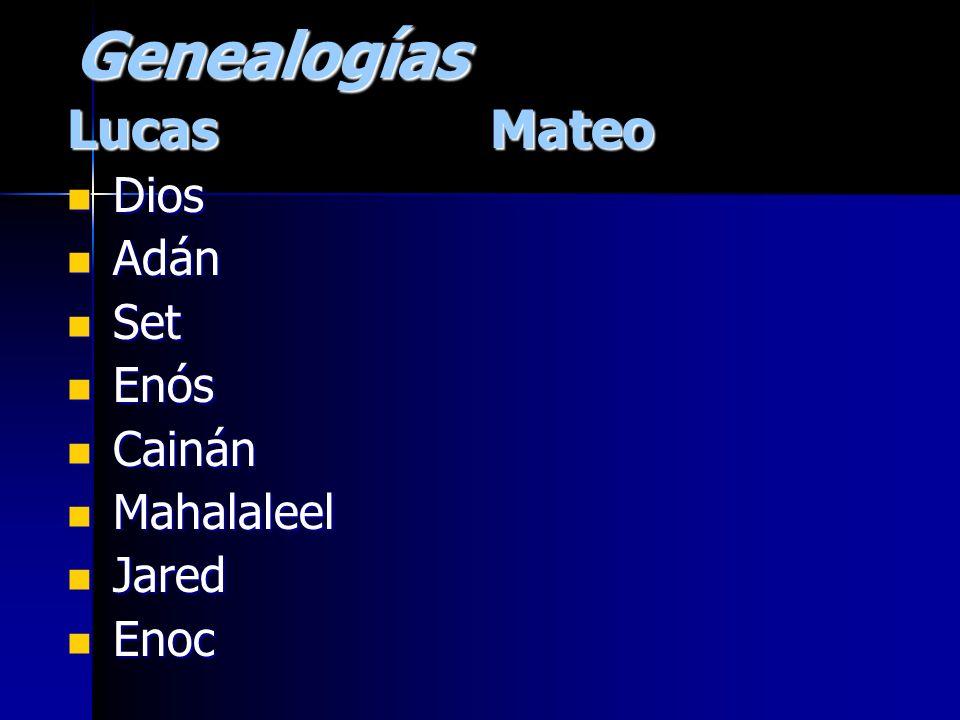 GenealogíasLucas Dios Dios Adán Adán Set Set Enós Enós Cainán Cainán Mahalaleel Mahalaleel Jared Jared Enoc EnocMateo