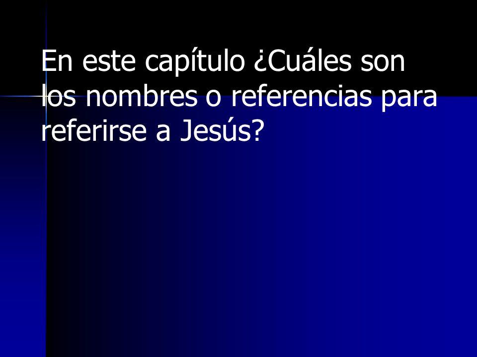 En este capítulo ¿Cuáles son los nombres o referencias para referirse a Jesús?
