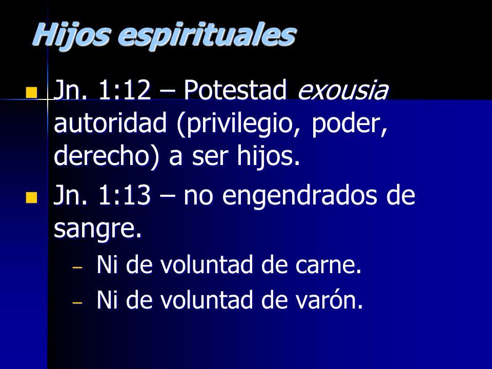 Hijos espirituales Jn. 1:12 – Potestad exousia autoridad (privilegio, poder, derecho) a ser hijos. Jn. 1:12 – Potestad exousia autoridad (privilegio,