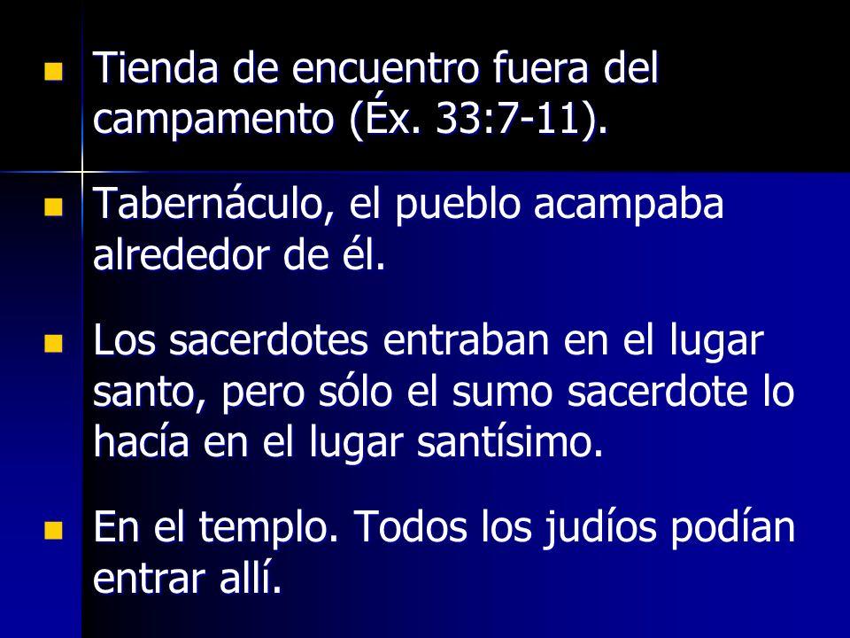 Tienda de encuentro fuera del campamento (Éx. 33:7-11). Tienda de encuentro fuera del campamento (Éx. 33:7-11). Tabernáculo, el pueblo acampaba alrede