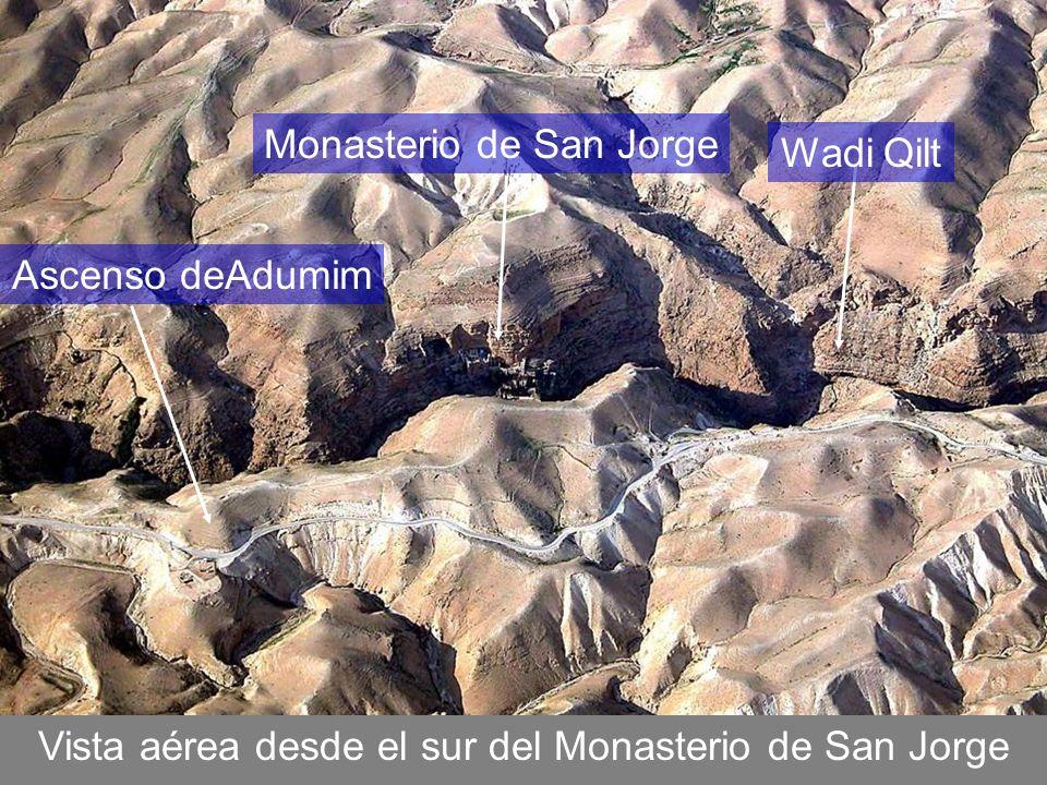 Vista aérea desde el sur del Monasterio de San Jorge Monasterio de San Jorge Wadi Qilt Ascenso deAdumim