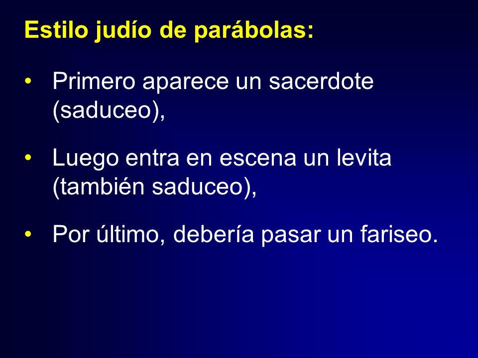 Estilo judío de parábolas: Primero aparece un sacerdote (saduceo), Luego entra en escena un levita (también saduceo), Por último, debería pasar un far