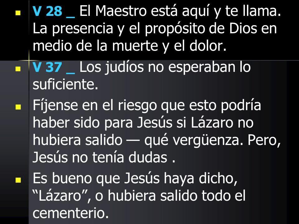 V 28 _ El Maestro está aquí y te llama. La presencia y el propósito de Dios en medio de la muerte y el dolor. V 37 _ Los judíos no esperaban lo sufici