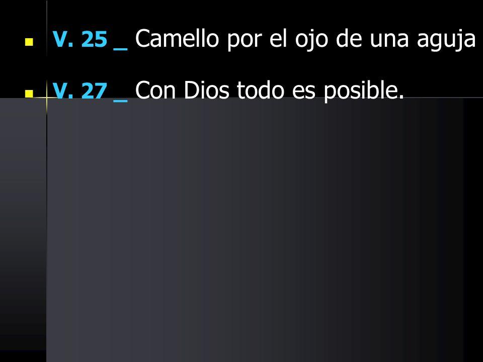 V. 25 _ Camello por el ojo de una aguja V. 27 _ Con Dios todo es posible.