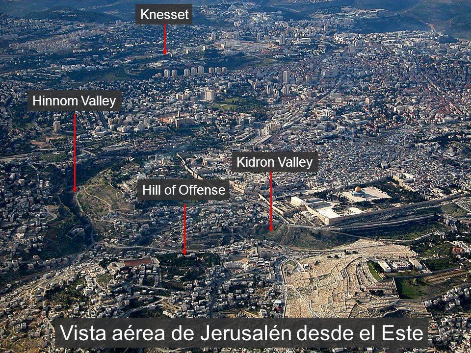 Vista aérea de Jerusalén desde el Este Knesset Hinnom Valley Hill of Offense Kidron Valley