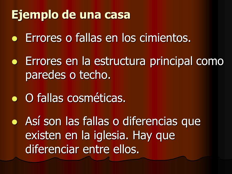 Ejemplo de una casa Errores o fallas en los cimientos. Errores o fallas en los cimientos. Errores en la estructura principal como paredes o techo. Err