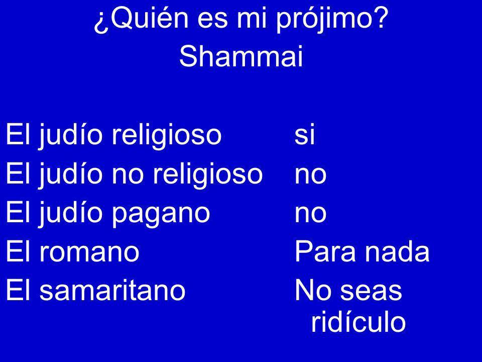 ¿Quién es mi prójimo? Shammai El judío religiososi El judío no religiosono El judío paganono El romanoPara nada El samaritanoNo seas ridículo