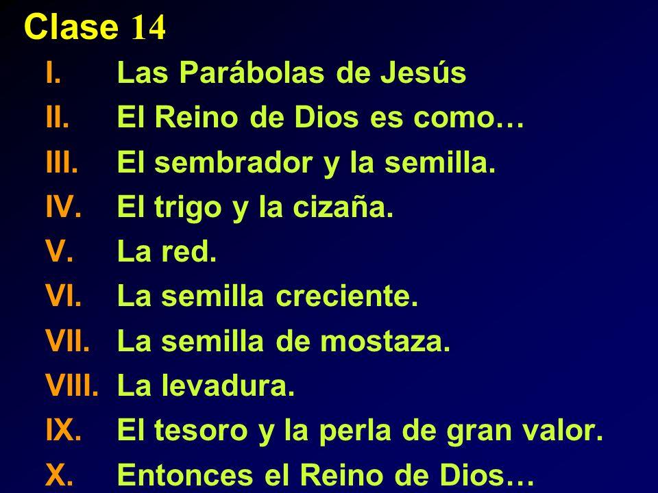 I.Las Parábolas de Jesús II.El Reino de Dios es como… III.El sembrador y la semilla. IV.El trigo y la cizaña. V.La red. VI.La semilla creciente. VII.L
